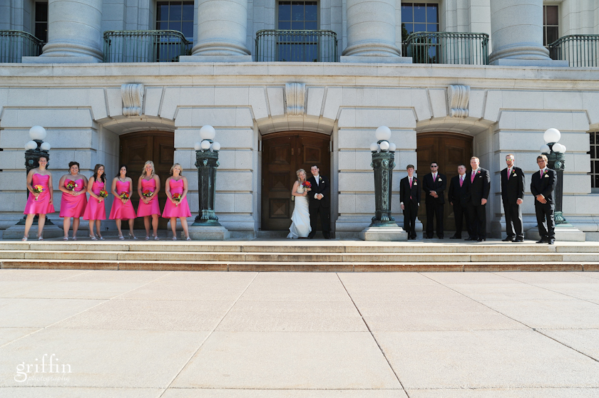 bridal party at madison wi capital building.