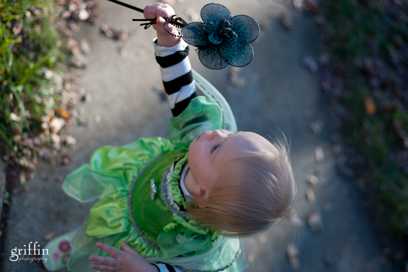 Child dressed as green fairy for Halloween.