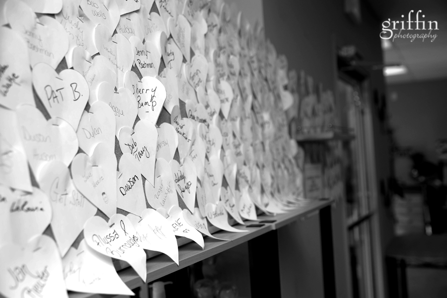 Close up of cutout hearts with names.