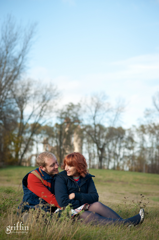 Engagement session at Reiner Park, Madison, man holding fiance.
