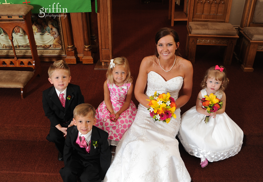 The bride surrounded by her young entourage.