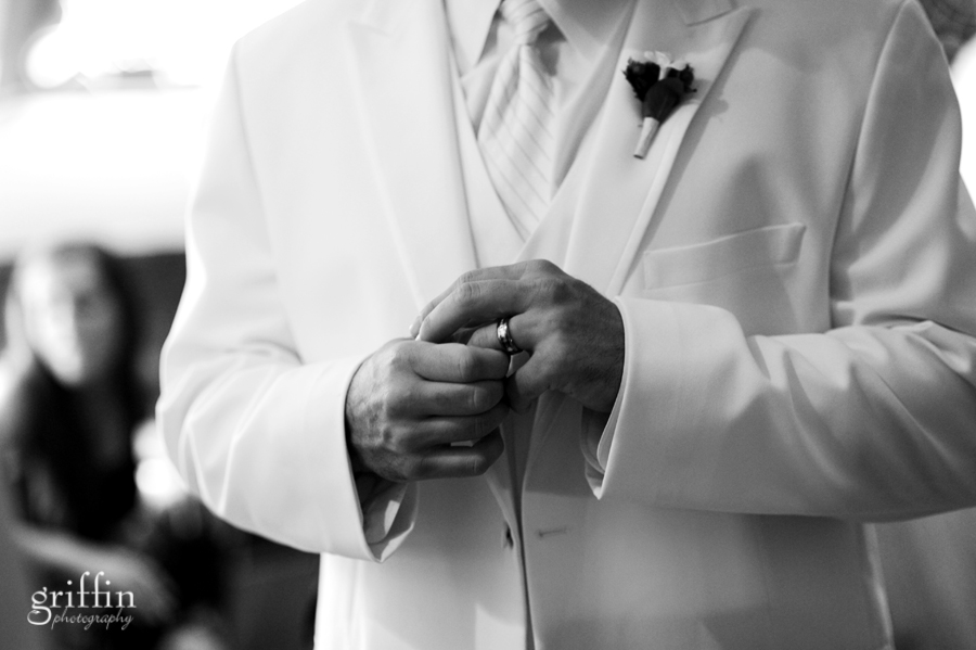 The groom fidgeting with his new wedding band.