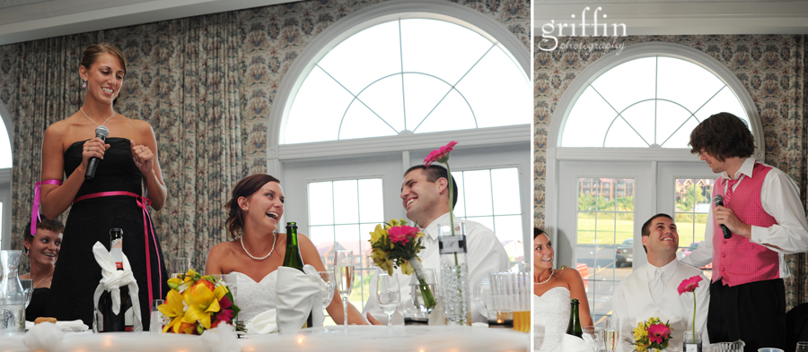 Bridal party speeches at the Wintergreen Resort.