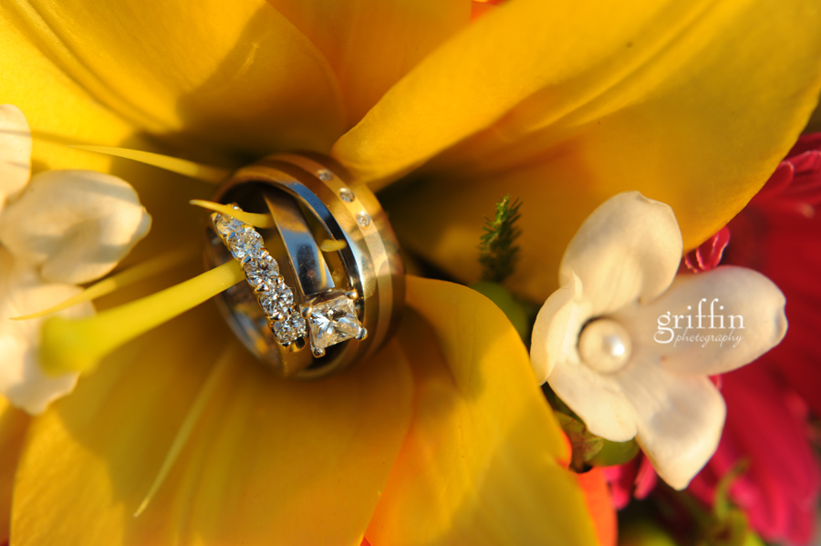Wedding bands set in the flowers.