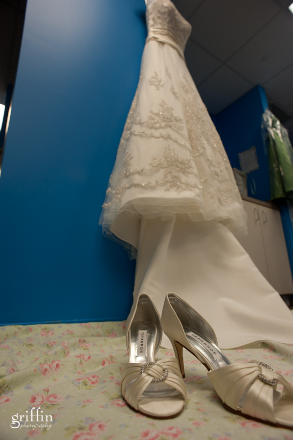 Wedding dress from Vera's in Wisconsin and wedding shoes.