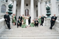 Bridal party arranged on capital steps in Madison Wisconsin.