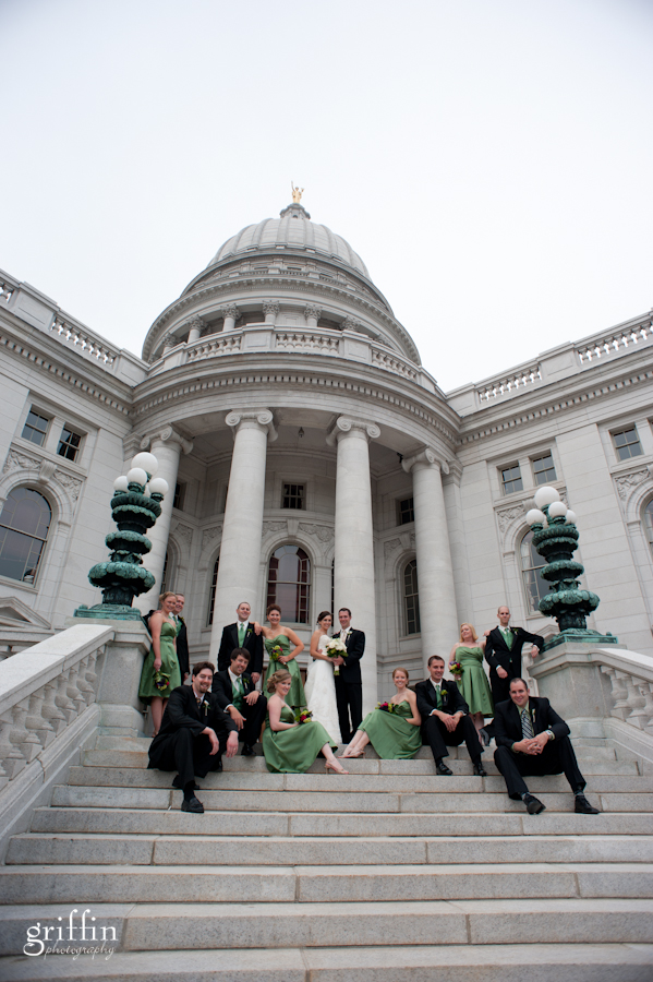 Bridal party with state capital behind them in Madison Wisconsin.