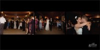 Album spread featuring the bride and groom leaving the reception.