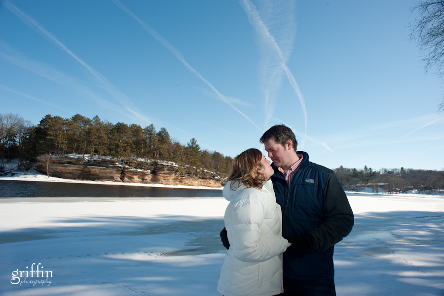 Wisconsin engagement photographer on the Wisconsin River in the Dells.