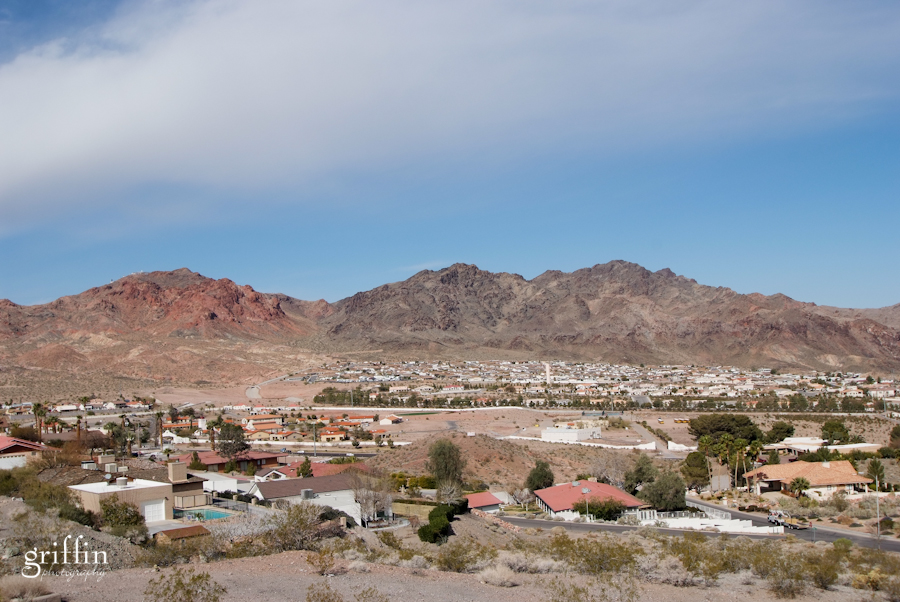 Mountains and stucco buildings near Lake Mead.