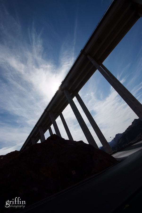 The bridge that spans the Colorado River between Nevada and Arizona.