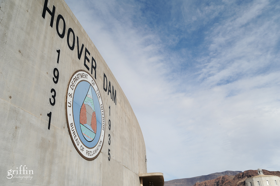 Hoover Dam sign over the visitor's center.