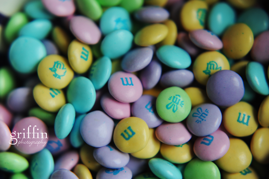 Macro shot of Easter colored m+m's.