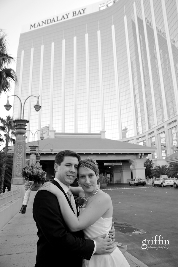 Bridal couple in front of the Mandalay Bay in Las Vegas, Nevada.