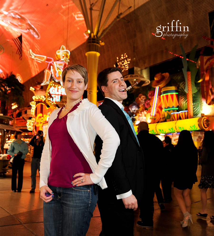 Married couple on Freemont Street in Vegas.