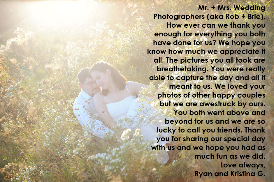 Griffin Photography wedding testimonial.