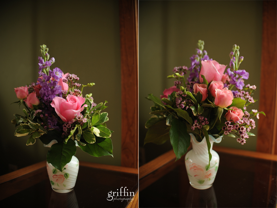 Both sides of the floral bouquet from Wild Apples in Baraboo Wisconsin.