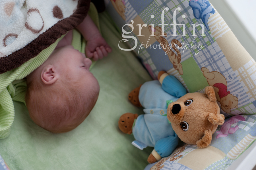Teddy bear watching over newborn in bassinet.