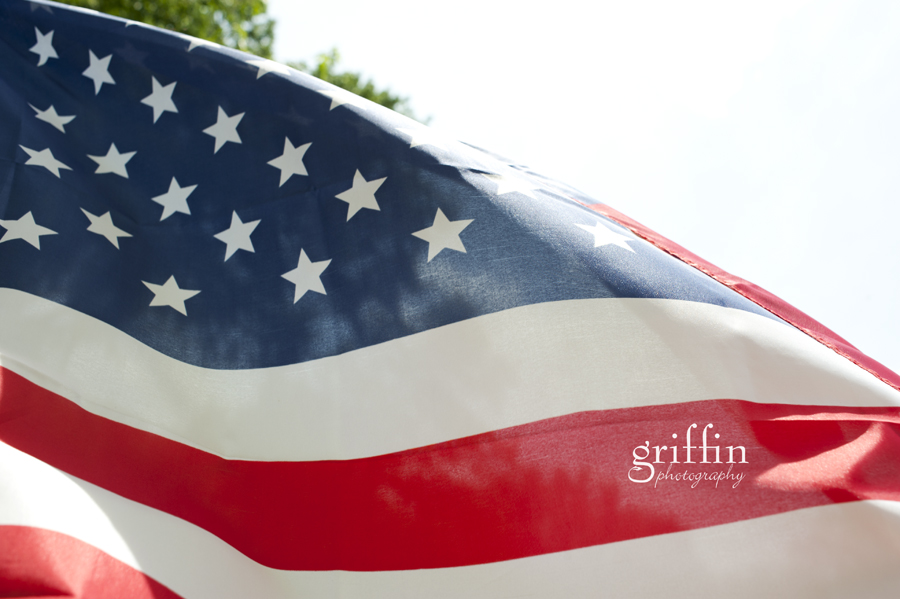American flag flying in the breeze on Flag Day 2011.