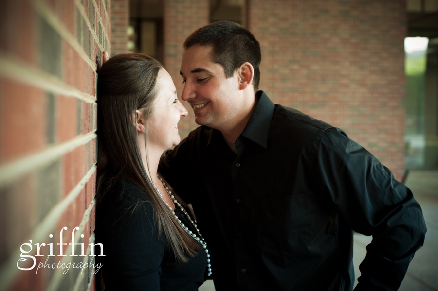 Couple laughing in the engagement session.
