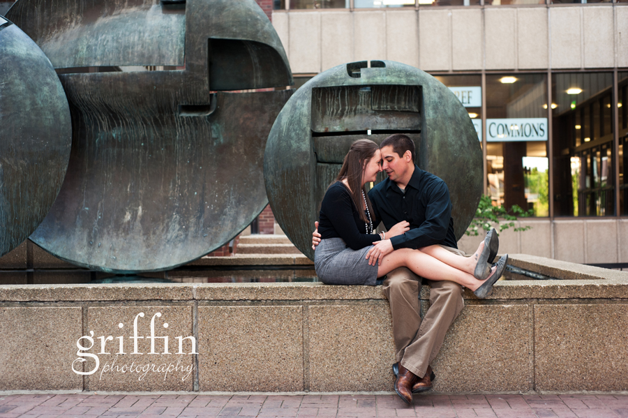 Engagement session couple holding each other University Wisconsin.