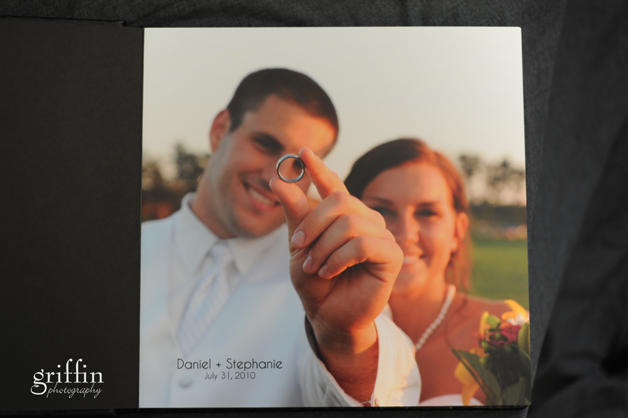 First page of wedding album from Griffin Photography.