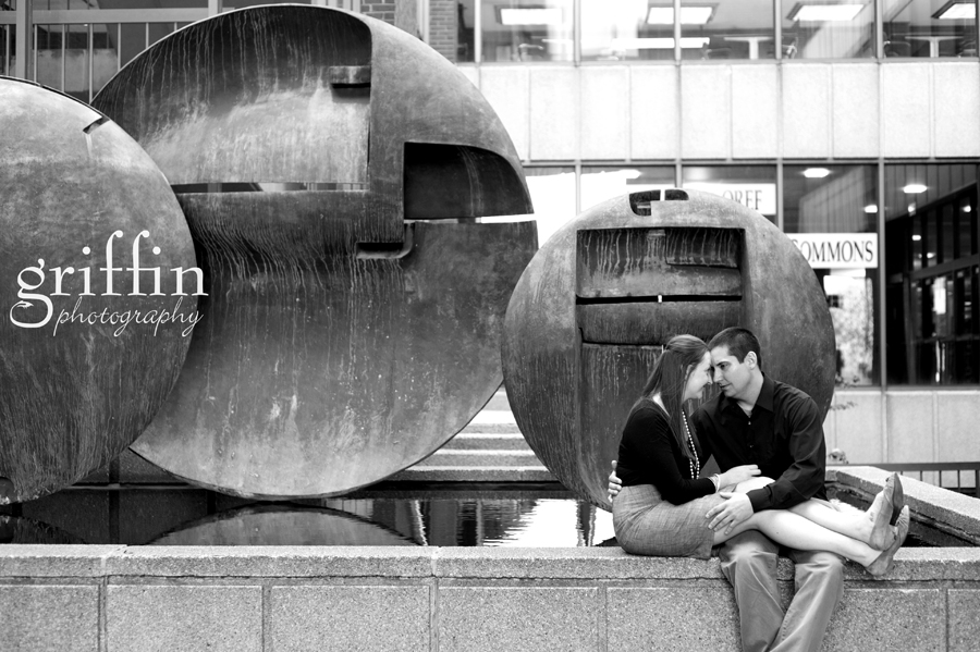 University of Wisconsin Milwaukee engagement session by the fountain.