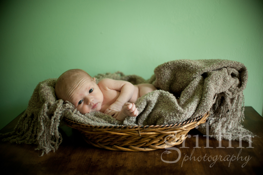 Newborn wrappedin blanket in basket.