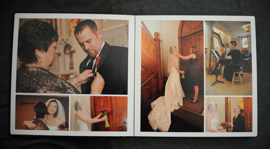 Wedding album getting ready spreads.