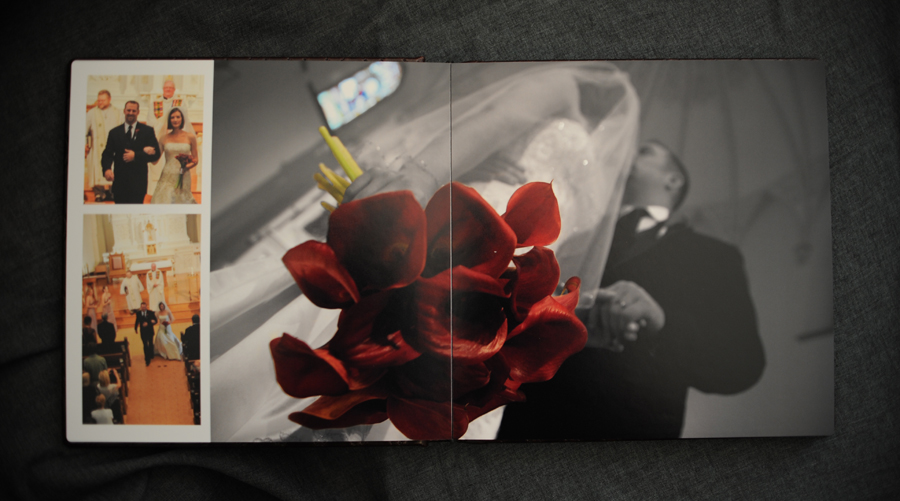 Wedding album kiss spread.