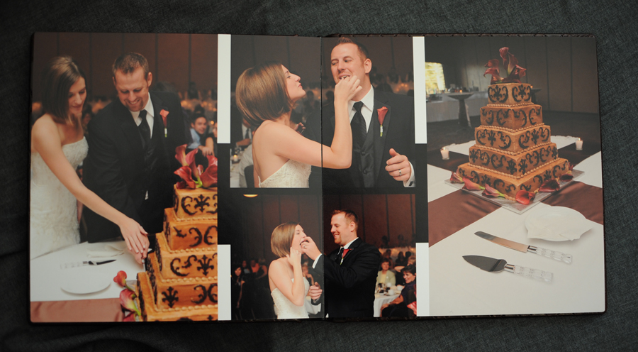 Wedding album cake spread.