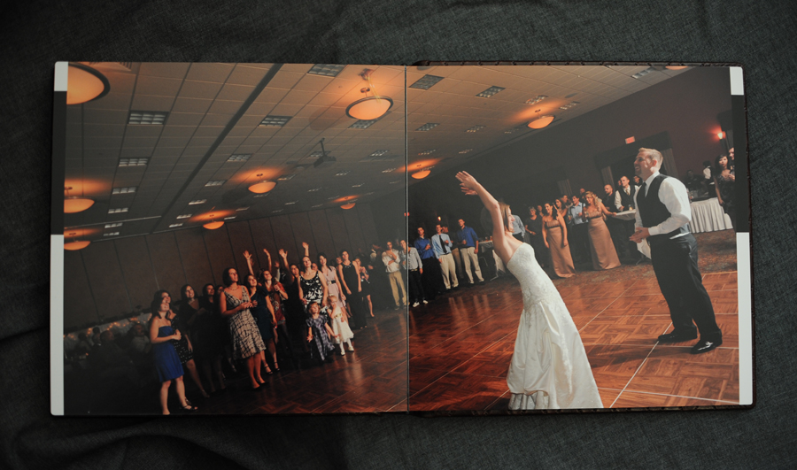 wedding album bouquet toss spread.