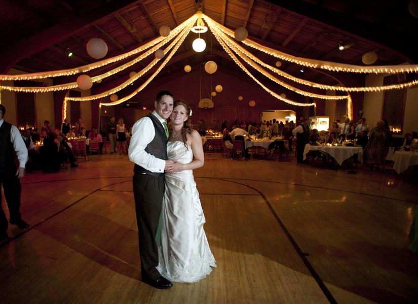 Gorgeous wedding reception at the Rock Springs Community Center with the bride and groom on the dance floor.