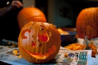 The finished warty and goofy pumpkin.