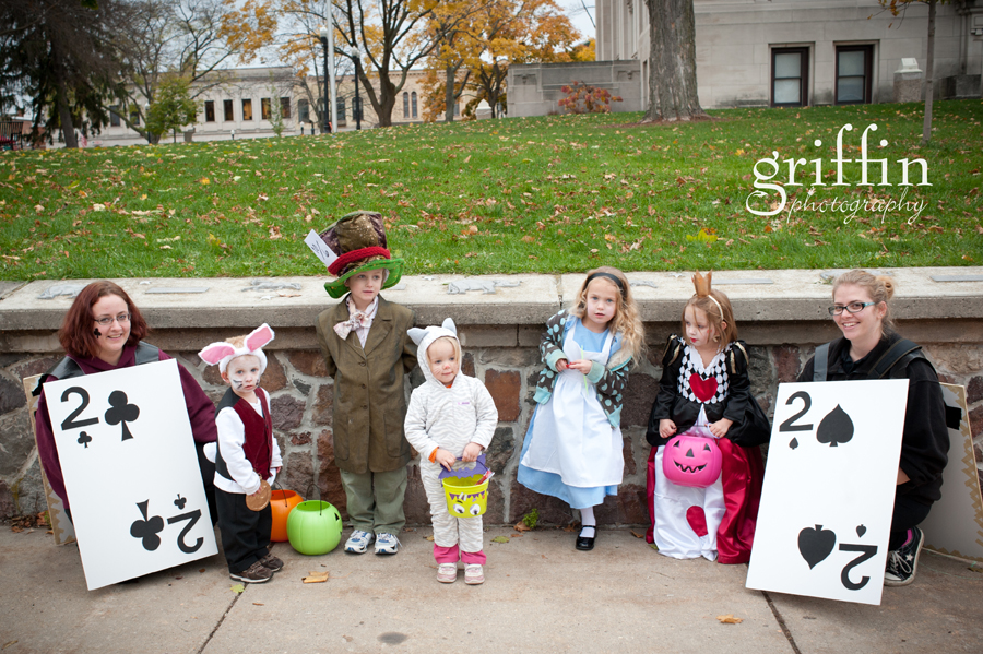 Dressed up for Halloween as Alice in Wonderland characters.