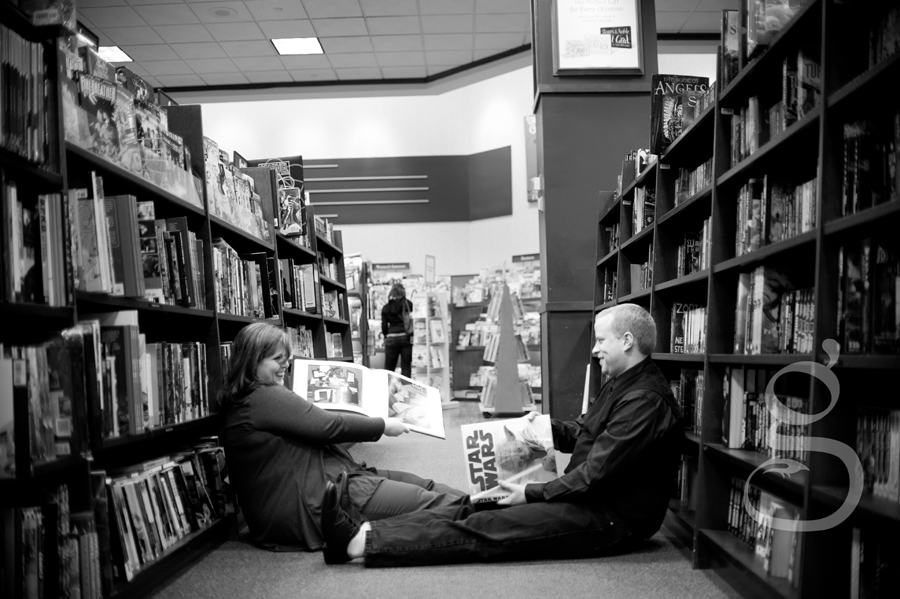 Checking out the book section where they met.