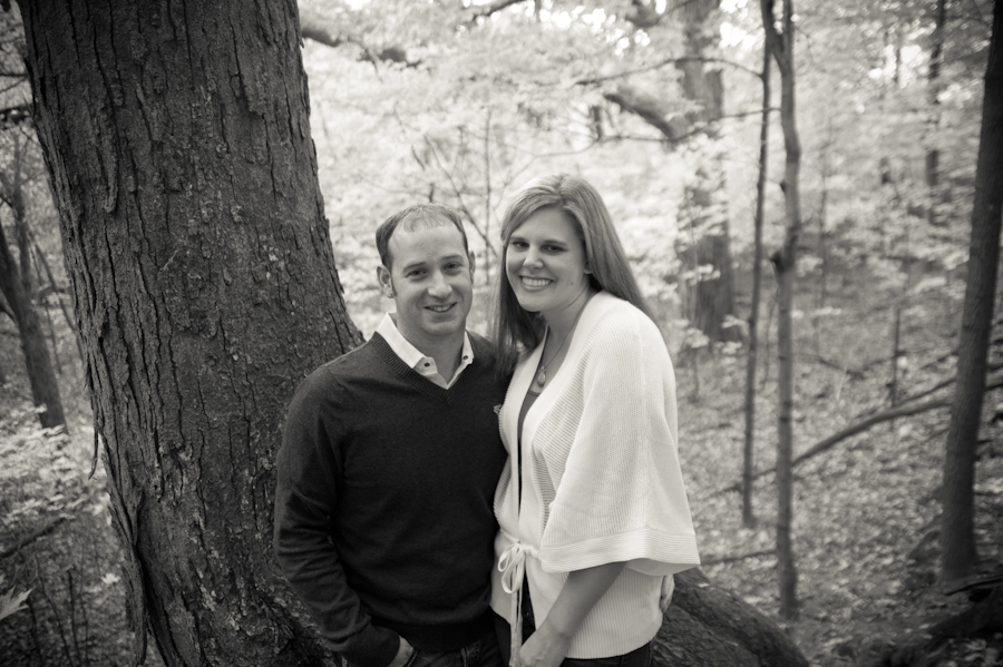 Engaged couple at Pewitt's Nest in Baraboo.