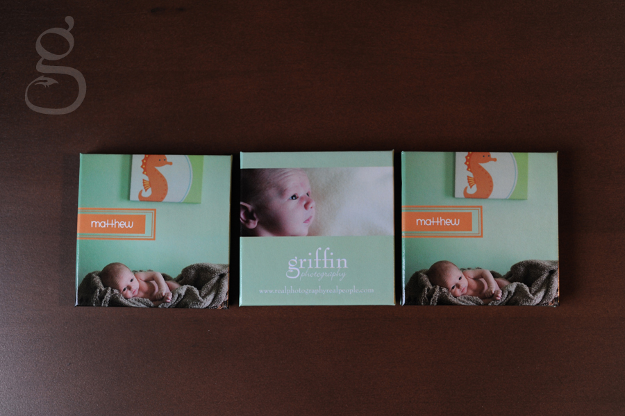 Set of three accordian newborn albums laid out on table.