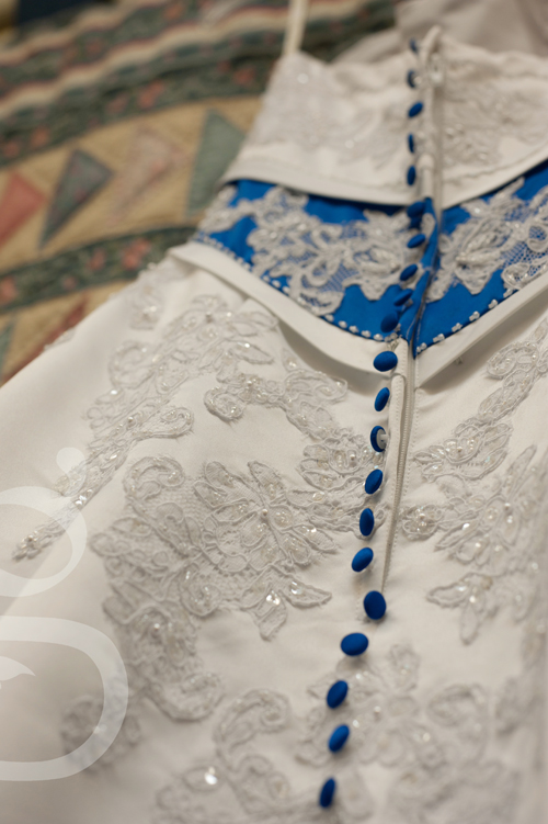 Detail of the lace on the wedding gown.