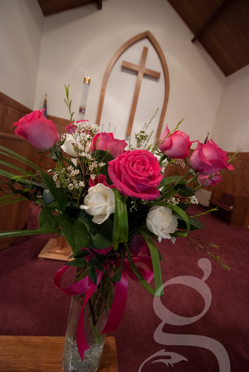 Bouquet of wedding flowers in the church sanctuary in Mauston.