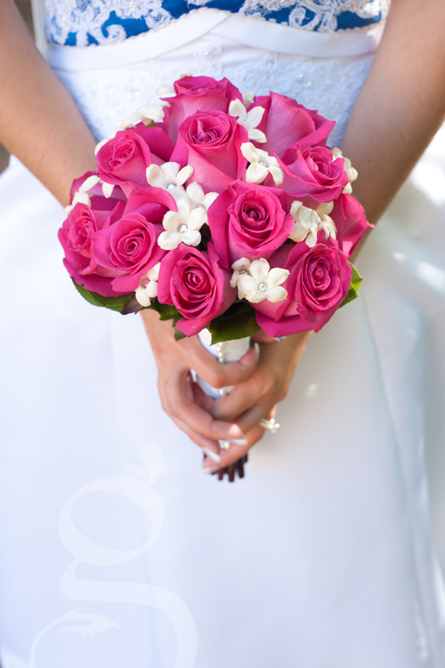 the bride's hot pink and white bouquet from Wild Apples in Baraboo, Wisconsin.