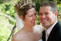 the bride and groom, a close up of the smiles.