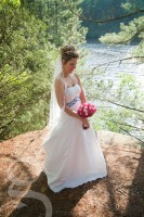 the beautiful bride on the dells overlooking the Wisconsin River at the Chula Vista resort in Wisconsin Dells.