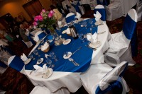 the tables decorated for the reception at Chula Vista resort.