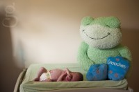 newborn on changing table with giant stuffed frog.