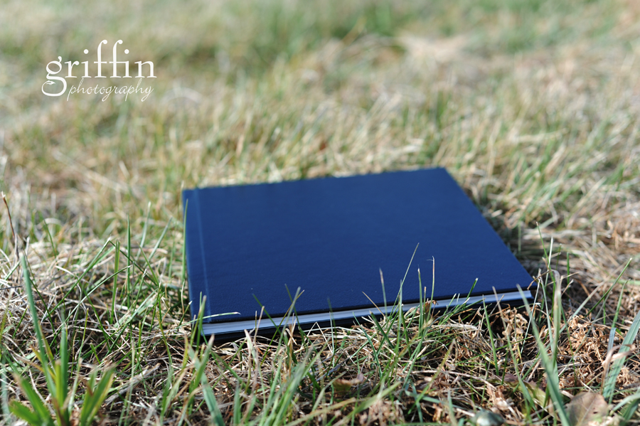 leather layflat wedding album in the grass