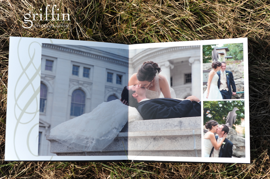 layflat wedding album: bride and groom kissing in front of the capital in Madison, WI.