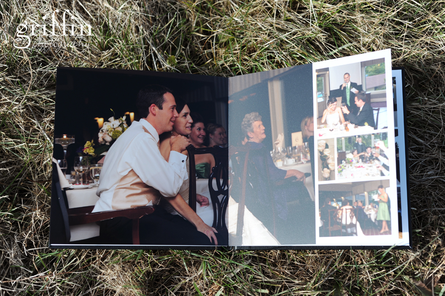 10 inch layflat wedding album: the reception and toasts spread.