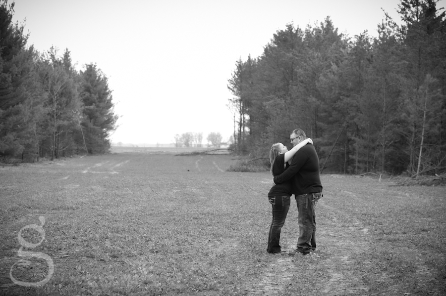 Kissing out in the field.