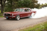 Burning rubber on a backroads in the Mustang.